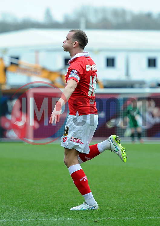 Bristol City captain Aaron Wilbraham celebrates his opening goal against Rochdale - Photo mandatory by-line: Paul Knight/JMP - Mobile: 07966 386802 - 28/02/2015 - SPORT - Football - Bristol - Ashton Gate Stadium - Bristol City v Rochdale - Sky Bet League One