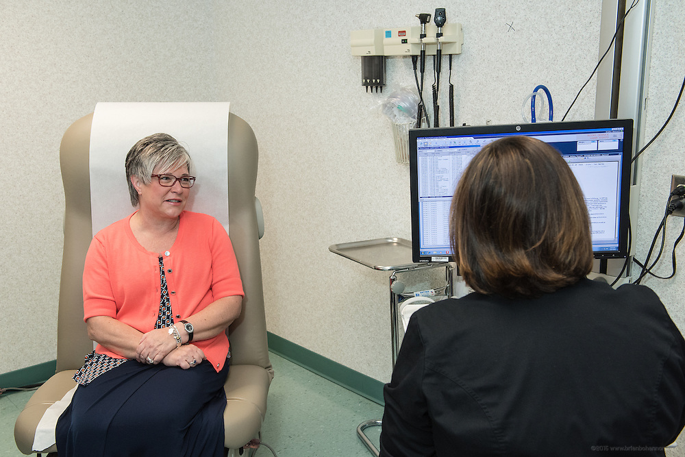 Cyberknife patient Debra Rooke, meets with Melissa Smither, RN, Thursday, May 21, 2015 at Baptist Health in Lexington, Ky. (Photo by Brian Bohannon/Videobred for Baptist Health)