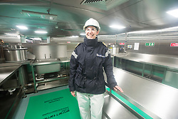 Commander Fiona Percival in the kitchens for the Junior rating dining hall. Tour of the Queen Elizabeth Aircraft Carrier under construction at the Babcock site in Rosyth dockyard.