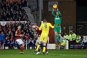 Nottingham Forest goalkeeper Dorus de Vries  claims the ball during the Sky Bet Championship match between Nottingham Forest and Leeds United at the City Ground, Nottingham, England on 27 December 2015. Photo by Simon Davies.