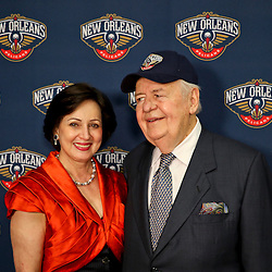Jan 21, 2013; New Orleans, LA, USA; New Orleans Hornets owners Tom Benson and Gayle Benson during a press conference to announce the rebranding of the team to the New Orleans Pelicans effective in the 2013-2014 NBA season at the New Orleans Arena. Mandatory Credit: Derick E. Hingle-USA TODAY Sports