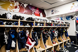 Dressing room of Team Slovenia at the 2017 IIHF Men's World Championship, on May 11, 2017 in AccorHotels Arena in Paris, France. Photo by Vid Ponikvar / Sportida