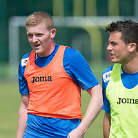 St Johnstone defender Brian Easton pictured in training with Gary Miller...08.07.13<br /> Picture by Graeme Hart.<br /> Copyright Perthshire Picture Agency<br /> Tel: 01738 623350  Mobile: 07990 594431