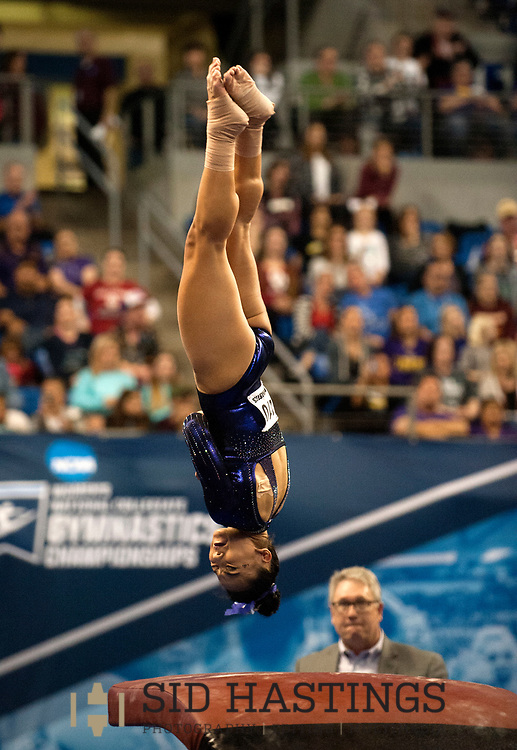 21 APRIL 2018 -- ST. LOUIS -- LSU gymnast Myia Hambrick competes in the Vault during the 2018 NCAA Women's Gymnastics Championship Super Six at Chaifetz Arena in St. Louis Saturday, April 21, 2018. The Tigers finished fourth in the nation during the meet.<br /> Photo &copy; copyright 2018 Sid Hastings.