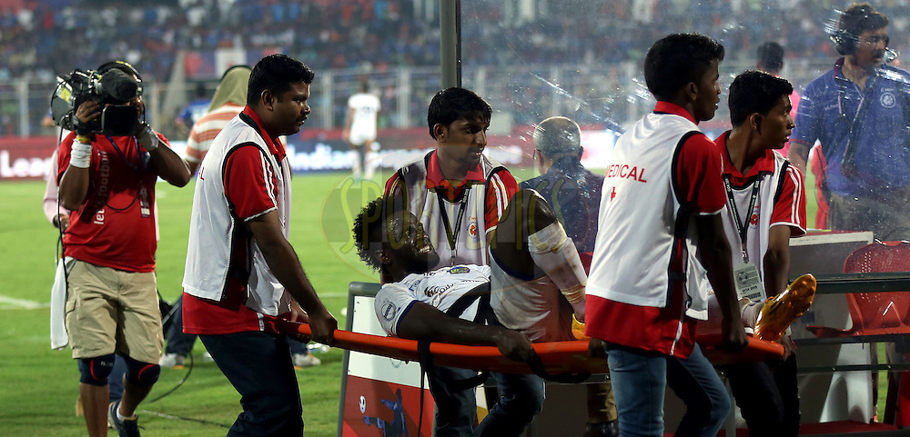 John Steven Mendoza Valencia of Chennaiyin FC injured during match 9 of the Indian Super League (ISL) season 2  between FC Goa and Chennaiyin FC held at the Jawaharlal Nehru Stadium, Fatorda, Goa, India on the 11th October 2015.<br /> <br /> Photo by Sandeep Shetty / ISL/ SPORTZPICS