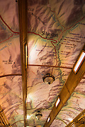 Map on the ceiling of a passenger car, Durango & Silverton Narrow Gauge Railroad, Durango, Colorado USA