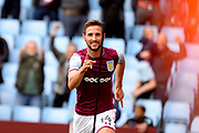Aston Villa midfielder Conor Hourihane (14) scores a goal and celebrates during the EFL Sky Bet Championship match between Aston Villa and Norwich City at Villa Park, Birmingham, England on 19 August 2017. Photo by Dennis Goodwin.