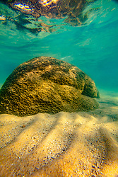 """Boulders Under Lake Tahoe 10"" - Underwater photograph of minnows and boulders taken while swimming at Whale Beach, Lake Tahoe."