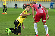 Phoenix's Kosta Barbarouses and Melbournce City FC's Emmanuel Muscat involve in a fight over foul play during the Hyundai A-League, Wellington Phoenix vs Melbourne City, Westpac Stadium, Wellington, Saturday 18th February 2017. Copyright Photo: Raghavan Venugopal / www.photosport.nz