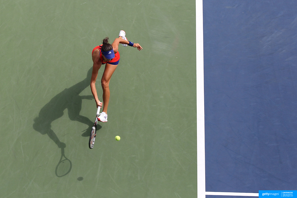 Ana Ivanovic, Serbia, in action against  Anna Tatishvili, Georgia, during the Women's Singles competition at the US Open. Flushing. New York, USA. 27th August 2013. Photo Tim Clayton