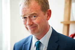 © Licensed to London News Pictures. 22/05/2017. London, UK. Liberal Democrat leader TIM FARRON visits the HQ of Graze, healthy snacks company in Richmond, west London on Monday 22 May 2017. Photo credit: Tolga Akmen/LNP