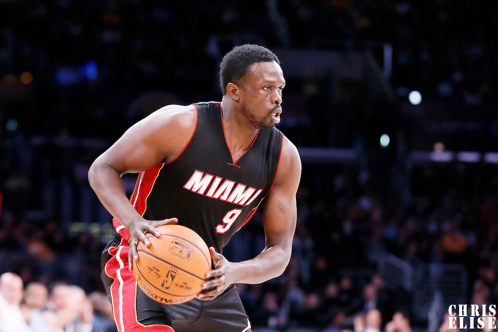 13 January 2014: Miami Heat forward Luol Deng (9) looks to pass the ball during the Miami Heat 78-75 victory over the Los Angeles Lakers, at the Staples Center, Los Angeles, California, USA.