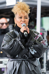 "City Hall, London, March 5th 2017. Stars join March4Women through London. Mayor of London Sadiq Khan and suffragette descendents prepare to march and ""sing for a fairer world ahead of International Women's Day"". Attended by Annie Lennox, Emeli Sande, Helen Pankhurst, Bianca Jagger and with musical performances from Emeli Sande, Melanie C and more. PICTURED: Emile Sandé"