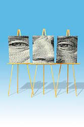 poster 001 three easels with face divided