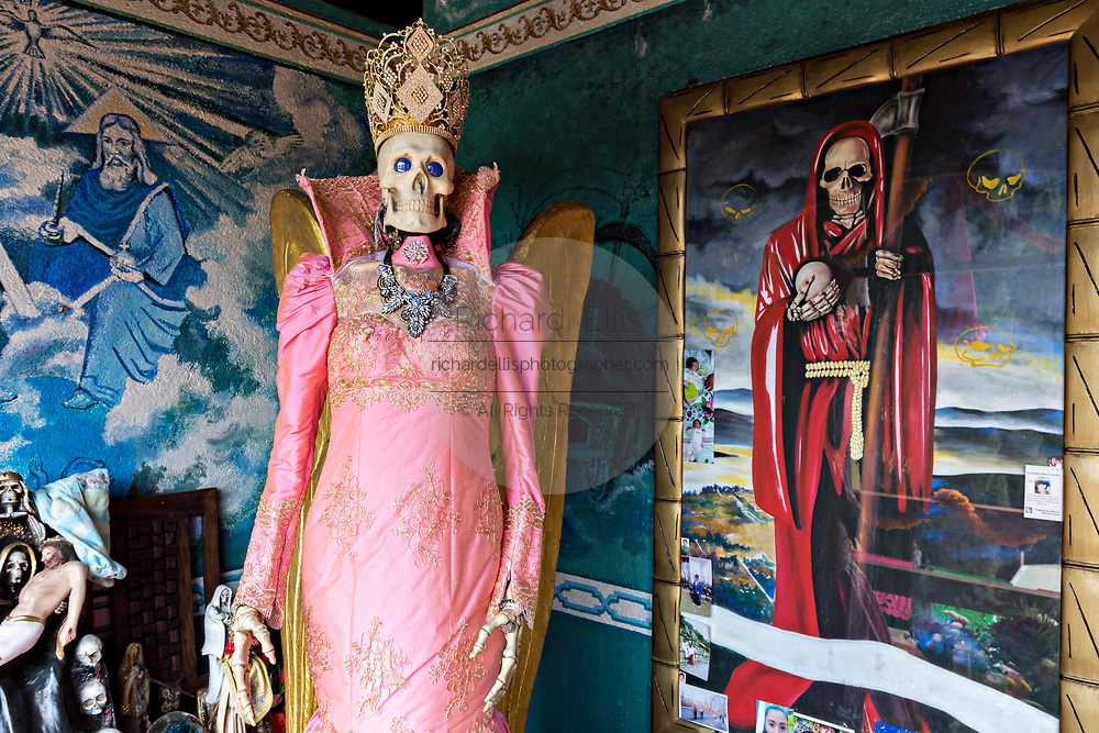A shrine and offerings to the White Lady inside the La Casa De La Santa Muerte or House of the Saint of the Dead November 1, 2017 in Santa Ana Chapitiro, Michoacan, Mexico.