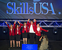 The 2017 SkillsUSA National Leadership and Skills Conference Competition Medalists were announced Friday, June 23, 2017 at Freedom Hall in Louisville. <br /> <br /> Career Pathways - Human Services<br /> <br /> Team ME (consisting of Omar J Torres, Anthony Tomeski-Sudziarski, Isaac Medina)<br />   High School Bethlehem AVTS<br />   Gold Bethlehem, PA<br /> Career Pathways - Human ServicesTeam WB (consisting of Yamel Herrera, Jasmine Silva, Ruben Garzoria)<br />   High School Veterans Memorial High School<br />   Silver Brownsville, TX<br /> Career Pathways - Human ServicesTeam WE (consisting of Madison Lewis, Mason Putnam, Destiny Mayorga)<br />   High School Tulsa Technology Center-Peoria<br />   Bronze Tulsa, OK<br /> Career Pathways - Human ServicesTeam MB (consisting of Christopher Onder, Carley Hahn, Alesha Shields)<br />   College YTI Career Institute, Altoona<br />   Gold Altoona, PA<br /> Career Pathways - Human ServicesTeam UA (consisting of TAWANDA BROWN, ELPDTHA GIBSON, MARY SWISHER)<br />   College Northwest Florida State College<br />   Silver Niceville, FL<br /> Career Pathways - Human ServicesTeam WA (consisting of Norma Lucero, Brittany Miller, Jayline Jimenez)<br />   College Crowder College<br />   Bronze Neosho, MO