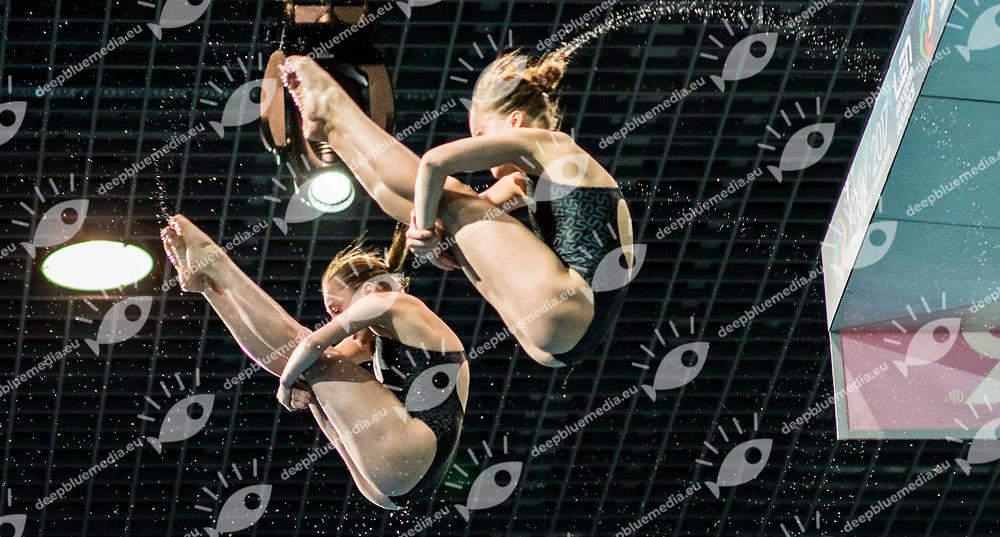 LIULKO Valeriia UKR, LYSKUN Sofiia UKR<br /> Synchronised Platform Women Final<br /> LEN European Diving Championships 2017<br /> Sport Center LIKO, Kiev UKR<br /> Jun 12 - 18, 2017<br /> Day03 14-06-2017<br /> Photo &copy; Giorgio Scala/Deepbluemedia/Insidefoto