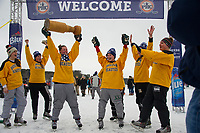 The Boston Beauties hoist the trophy after their win over the UBears in the final round of the New England Pond Hockey Classic Sunday afternoon.  (Karen Bobotas Photographer)
