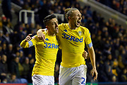 Goal - Pablo Hernandez (19) of Leeds United celebrates scoring a goal to give a 0-3 lead to the away team with Luke Ayling (2)  of Leeds United during the EFL Sky Bet Championship match between Reading and Leeds United at the Madejski Stadium, Reading, England on 12 March 2019.