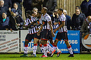 Goal Maidenhead United midfielder Ryan Upward scores a goal and celebrates 1-0 during the Vanarama National League match between Maidenhead United and Havant & Waterlooville FC at York Road, Maidenhead, United Kingdom on 26 March 2019.