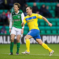 Hibs v St Johnstone...21.01.12<br /> Lee Croft wheels away to celebrate after scoring for saints on his debut<br /> Picture by Graeme Hart.<br /> Copyright Perthshire Picture Agency<br /> Tel: 01738 623350  Mobile: 07990 594431