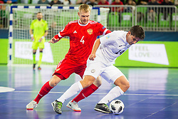 Dmitri Lyskov of Russia and Douglas Junior of Kazakhstan during futsal match between Russia and Kazakhstan in Third place match of UEFA Futsal EURO 2018, on February 10, 2018 in Arena Stozice, Ljubljana, Slovenia. Photo by Ziga Zupan / Sportida