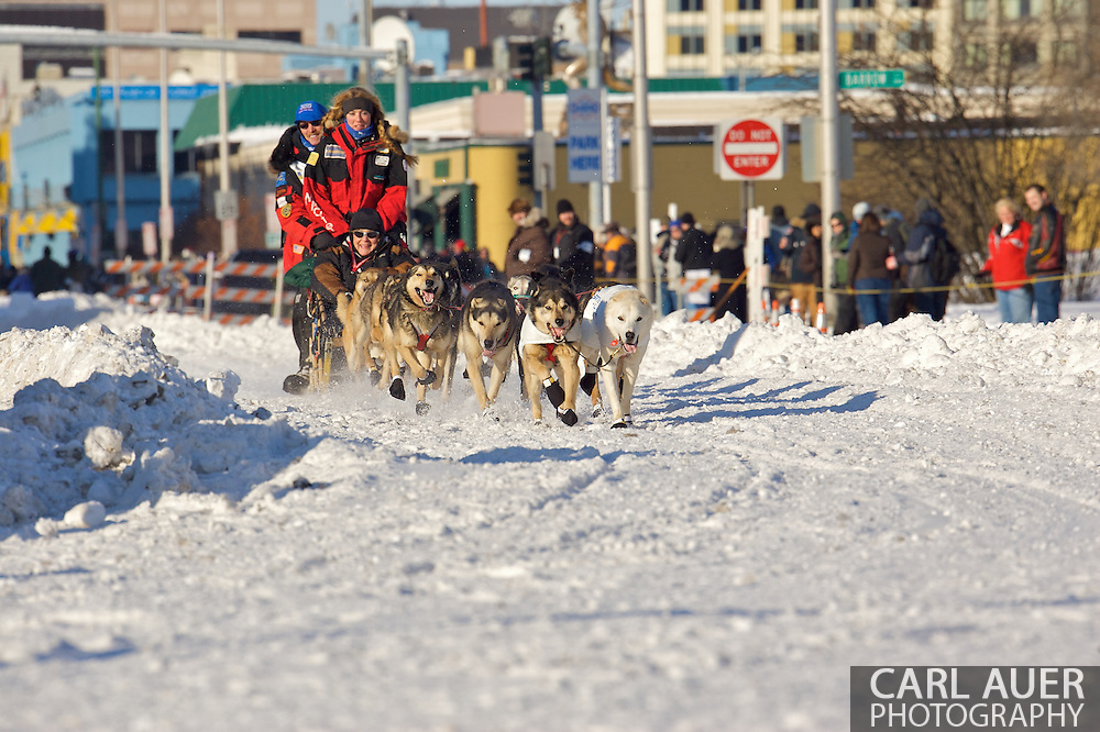 March 7th, 2009:  Anchorage, Alaska - Paul Gebhardt out of Kasilof, Alaska at the start of the 2009 Iditarod Sled Dog Race.