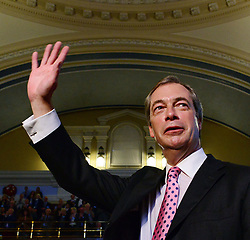 UKIP Leader Nigel Farage waves to the audience after his Keynote Speech at UKIP's annual conference, Central Hall, Westminster, London, United Kingdom. Friday, 20th September 2013. Picture by Nils Jorgensen/ i-Images