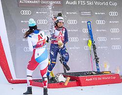 12.01.2020, Keelberloch Rennstrecke, Altenmark, AUT, FIS Weltcup Ski Alpin, Alpine Kombination, Damen, Siegerehrung, im Bild v.l. Wendy Holdener (SUI, 2. Platz), Federica Brignone (ITA, 1. Platz) // f.l. second placed Wendy Holdener of Switzerland race winner Federica Brignone of Italy during the winner ceremony of women's Alpine combined for the FIS ski alpine world cup at the Keelberloch Rennstrecke in Altenmark, Austria on 2020/01/12. EXPA Pictures © 2020, PhotoCredit: EXPA/ Johann Groder