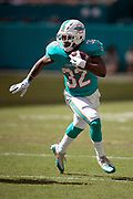 Miami Dolphins running back Kenyan Drake (32) looks for yards after a catch for a gain of 3 yards to the New York Jets 45 yard line during the NFL week 9 regular season football game against the New York Jets on Sunday, Nov. 4, 2018 in Miami Gardens, Fla. The Dolphins won the game 13-6. (©Paul Anthony Spinelli)