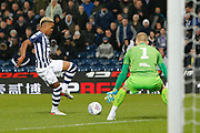 Grady Diangana back-heels the ball to Kieran Gibbs for his goal during the EFL Sky Bet Championship match between West Bromwich Albion and Bristol City at The Hawthorns, West Bromwich, England on 27 November 2019.