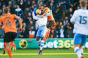 Sheffield Wednesday forward Lucas Joao (19)  is beaten by Wolverhampton Wanderers defender, on loan from Fulham,  Richard Stearman (5)  during the EFL Sky Bet Championship match between Wolverhampton Wanderers and Sheffield Wednesday at Molineux, Wolverhampton, England on 26 November 2016. Photo by Simon Davies.