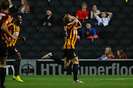 Billy Clarke of Bradford City (right)  celebrates scoring his team's second goal to make it 0-2 against Milton Keynes Dons during the Sky Bet League 1 match at stadium:mk, Milton Keynes<br /> Picture by David Horn/Focus Images Ltd +44 7545 970036<br /> 16/09/2014