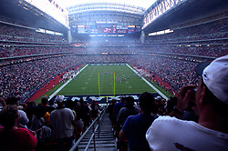 Stock photo of the end zone view of the field at Reliant Stadium with the roof open