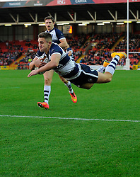 Bristol Rugby's Left Wing, George Watkins scores a try  - Photo mandatory by-line: Joe Meredith/JMP - Mobile: 07966 386802 - 23/11/2014 - SPORT - Rugby - Bristol - Ashton Gate - Bristol Rugby v Rotherham Titans - Greene King IPA Championship
