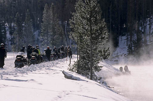 Yellowstone National Park, Snowmobiling in park, viewing Elk along Firehole River.