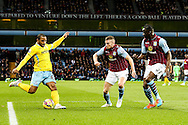 Jason Puncheon of Crystal Palace (left)  shoots during the Barclays Premier League match at Villa Park, Birmingham<br /> Picture by Andy Kearns/Focus Images Ltd 0781 864 4264<br /> 01/01/2015