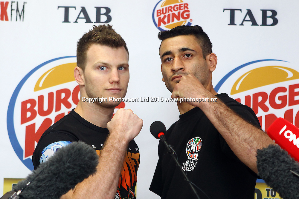 Jeff Horn (L) and Alfredo Blanco, Burger King, Road to the Title press conference ahead of Thursdays boxing event. Burger king Lincoln Rd, Auckland. 13 October 2015. Copyright Photo: William Booth / www.photosport.nz