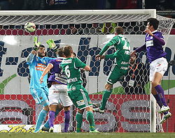 08.03.2015, Generali Arena, Wien, AUT, 1. FBL, FK Austria Wien vs SK Rapid Wien, 24. Runde, im Bild Tor fuer die Austria durch Vanche Shikov (FK Austria Wien), Jan Novotna (SK Rapid Wien) geschlagen // during Austrian Football Bundesliga Match, 24th Round, between FK Austria Vienna and SK Rapid Wien at the Generali Arena, Vienna, Austria on 2015/03/08. EXPA Pictures © 2015, PhotoCredit: EXPA/ Thomas Haumer