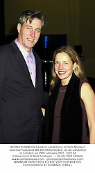 IWONA BLAZWICK head of exhibitions at Tate Modern and her husband MR RICHARD NOBLE, at an exhibition in London on 29th January 2001.OKU 56