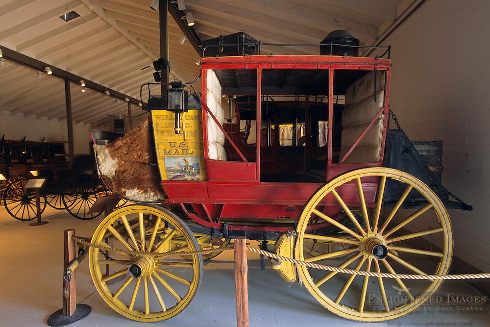 Old stage coaches at the Santa Ynez Historic Museum, Santa Barbara County, California