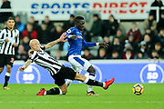 Jonjo Shelvey (#8) of Newcastle United fouls Idrissa Gueye (#17) of Everton and is sent-off during the Premier League match between Newcastle United and Everton at St. James's Park, Newcastle, England on 13 December 2017. Photo by Craig Doyle.
