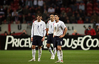 Photo: Paul Thomas.<br /> Holland v England. International Friendly. 15/11/2006.<br /> <br /> (L-R) Dejected England players Michael Carrick, Rio Ferdinand and Frank Lampard.