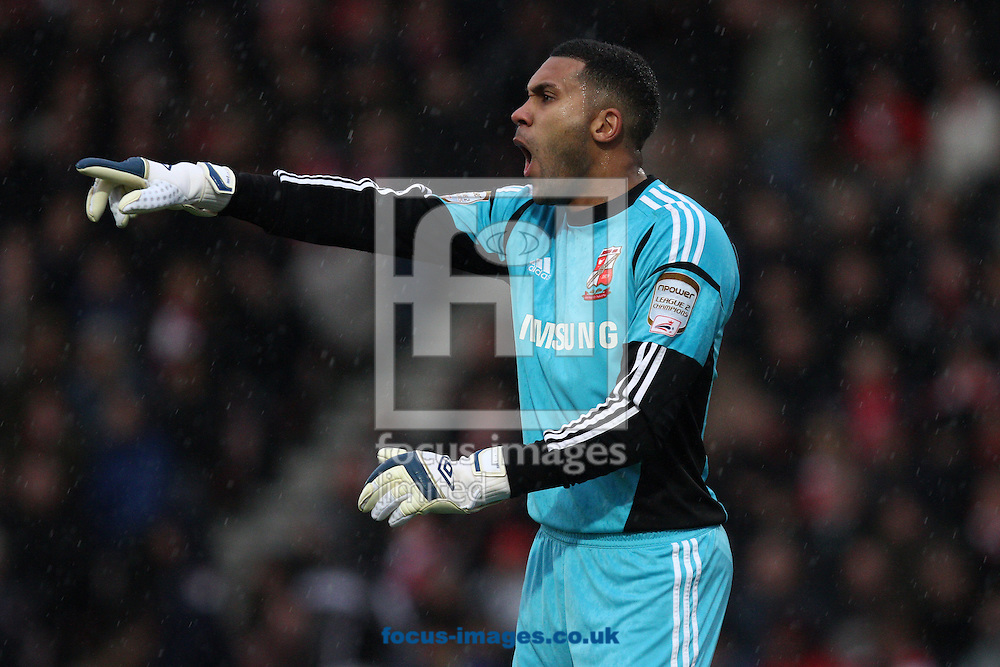 Picture by Daniel Chesterton/Focus Images Ltd +44 7966 018899.12/01/2013.Swindon Town goalkeeper Wes Foderingham during the npower League 1 match at the Seward Stadium, Bournemouth.
