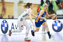 Rebeka Abramovic of Slovenia and Tunde Kilin of Romania during basketball match between National teams of Slovenia and Romania in 4. round of FIBA Women's EuroBasket 2019 Qualifiers, on February 14, 2018 in Dvorana Gimnazija Celje - Center, Slovenia. Photo by Urban Urbanc / Sportida