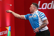 Gerwyn Price during the Ladrokes UK Open 2019 at Butlins Minehead, Minehead, United Kingdom on 1 March 2019.