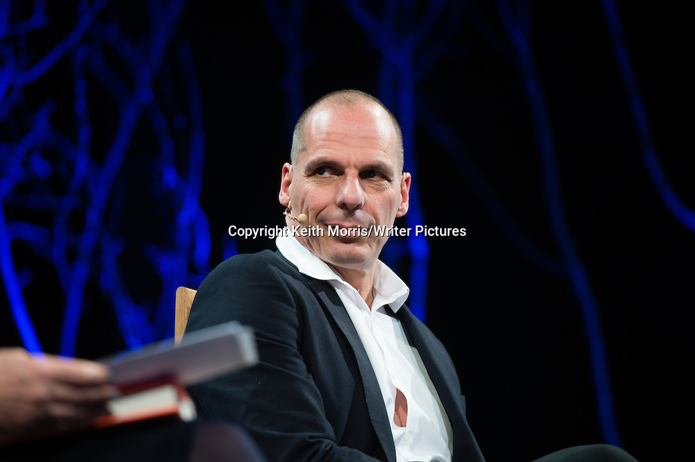 Yanis Varoufakis, Former Greek Finance Minister, speaking at The Hay Festival of Literature and the Arts, Hay on Wye, Wales UK May 30 2016<br /> <br /> Picture by Keith Morris/Writer Pictures