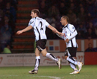 Photo: Kevin Poolman.<br />Leicester City v Fulham. The FA Cup. 06/01/2007. 2nd goal scorer for Fulham Moritz Volz (left) and Wayne Routledge celebrate the goal.