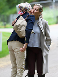 © Licensed to London News Pictures. 12/05/2018. Windsor, UK. Sophie, Countess of Wessex (right) kisses a friend at day 4 of the 75th Royal Windsor Horse Show . The five day event takes place in the grounds of Windsor Castle. Photo credit: Ben Cawthra/LNP