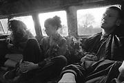 Smoking in a camper van, UK, 1990s.
